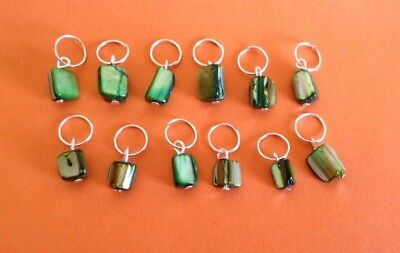 Green Shell Nugget Beaded Stitch Markers Row Counters Knitting Crochet