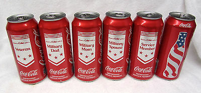 Set of 6 Military Coca Cola Cans USO Limited Edition 16 oz Red Coke