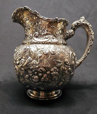 Large Gorham 6 Pint Sterling Repousse Water Pitcher - 30 Troy Oz Silver 3/4 Gal