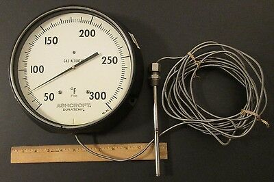 GIANT ASHCROFT GAS ACTUATED THERMOMETER RL 2C w/ Lead & Probe ~ Douglas Aircraft