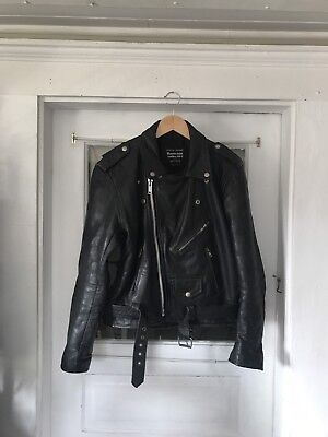 Vintage 80's Leather Men's Biker Motorcycle Rider Jacket