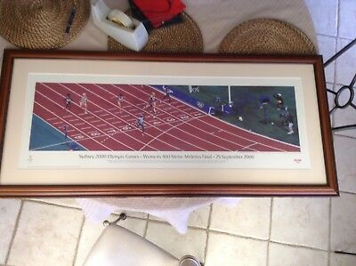 2000 OLYMPIC CATHY FREEMAN FRAMED PICTURE 200m Final Collectable