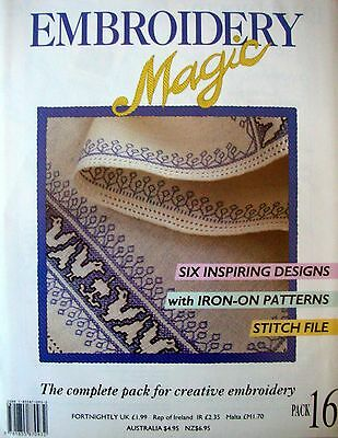 EMBROIDERY MAGIC No.16 - 6 Designs with Iron-on Patterns Transfers etc - VGC