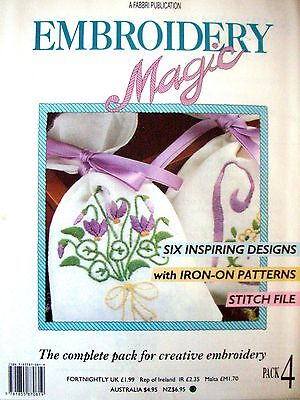 EMBROIDERY MAGIC No.4 - 6 Designs with Iron-on Patterns Creative Embroidery VGC