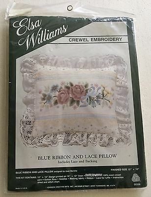 Elsa Williams Crewel Embroidery Kit Blue Ribbon + Lace Pillow Unopened Made USA