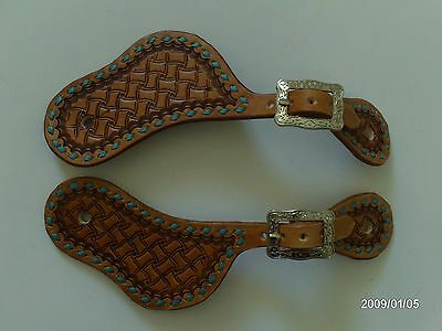 Aw Leather Goods Turquoise Buck Stitched  Old Cowboy Style Western Spur Straps