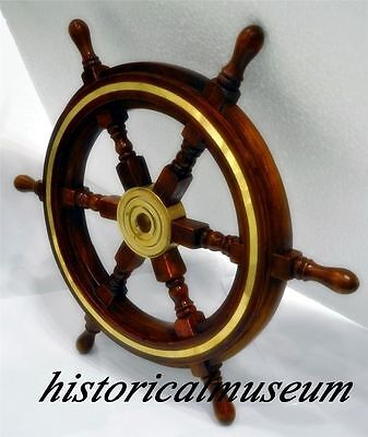 "Vintage 24"" Style Brass & Wood Ship Wheel Helm Nautical Decor Mancave Pirate"