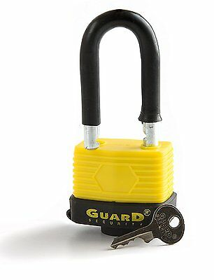 Guard Security 55128 Weatherproof Long Shackle Padlock Keyed Different, 2-5/16