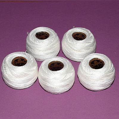 Bulk lot 5 x DMC Blanc White Perle Coton Cotton 8, 10g 80m, Balls