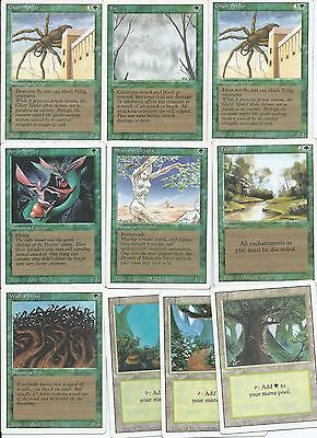 Magic the Gathering Revised Edition common green and land pack 1