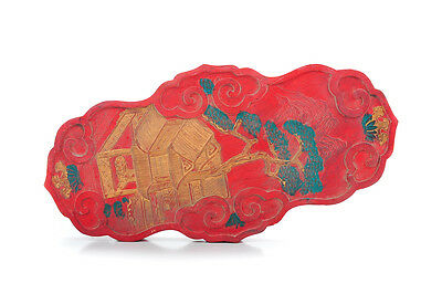 """Chinese Antique 10"""" Red Ink Stone w/Dragon in Relief-Signed"""