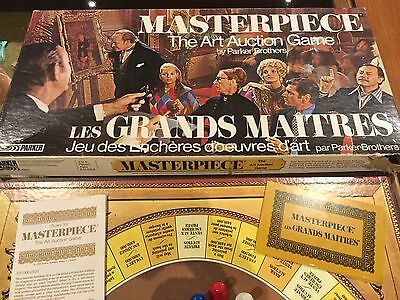 Vtg Masterpiece Art Auction Board Game Parker Brothers French + English Edition