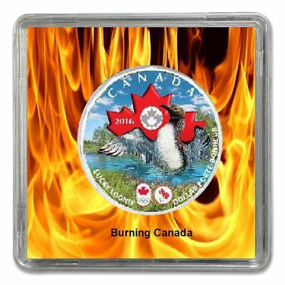 CANADA 2016 Olympic & Paralympic Games Coloured Lucky Loonie Plated Rhodium