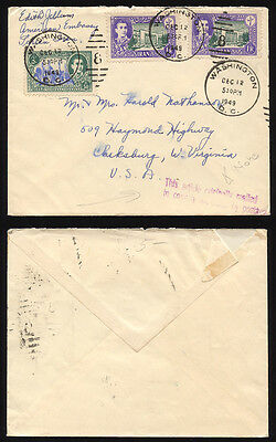 1949 Diplomatic pouch cover US Embassy Teheran, foreign stamps with Washington!