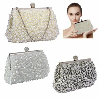 Pearl Beaded Crystal Clutch Bag Bridal Prom Party Wedding Ladies Handbag New