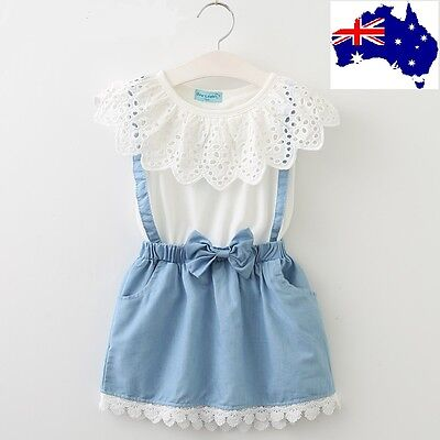 Girls Dress White Clothes Belt Denim Cotton Children Toddler Baby Summer Clothes