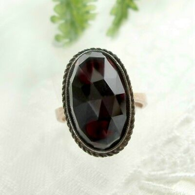 Vintage large single garnet ring in oval shape || ГРАНАТ#WPK