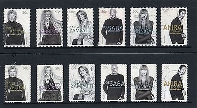 2005 Australian Legends Fashion Designers, Complete Set Of 12 Good To Fine Used