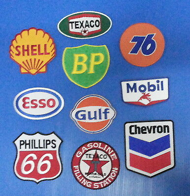 BIG 10 LOT ASST.COLLECTORS GAS OIL Embrodered Iron Or Sewn On Patches Free Ship