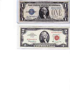 1928 plain $1 Silver Certificate, Funnyback & 1963 $2 red seal lot of 2,