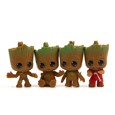 4pcs/set New Cute Guardians Of The Galaxy Mini Baby Groot Tree Action Figure