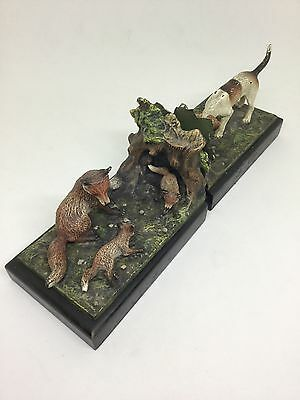 Beautiful Cold Painted Bronze Book Ends Fox and Hound hunting scene Antique