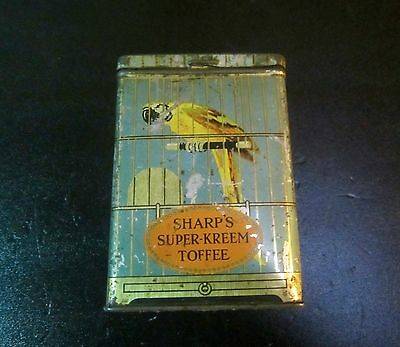 Antique Vintage Old Sharp's Super-Kreem Toffee Tin - Advertising Tin with Macaw