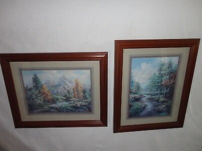 Home Interiors  2pc Set'' Stream In the Woods ''Pictures Gorgeous 16''x 13''