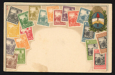 Argentina Ca 1900 Postcard depicting current set of stamps to 20 Pesos