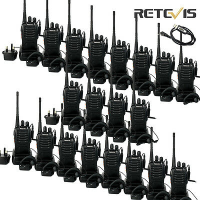 20x Retevis H-777 Walkie Talkie Single Band UHF Radio 16CH 5W LED Torch+1x Cable