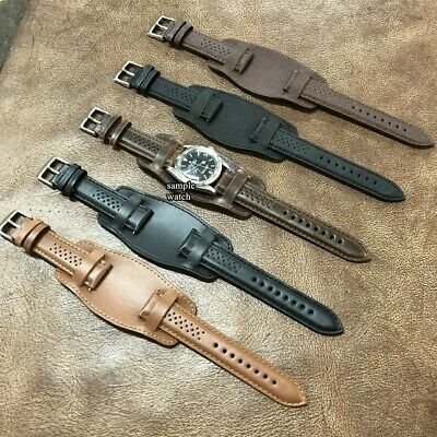 Size 20/22mm Pilot Aviator Vintage Look Leather Cuff Watch Strap Band #015B