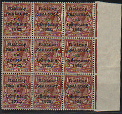Irlande Ireland Eire 1 1/2d value MW 16 variety PENCF for PENCE Block of 9 ** mn