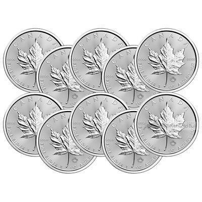 Lot of 10 x 1 oz 2017 Canadian Maple Leaf Silver Coin