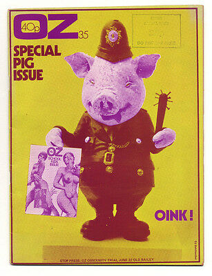OZ Magazine No 35 (May 1971) Special Pig issue Yellow cover by Ed Belcham