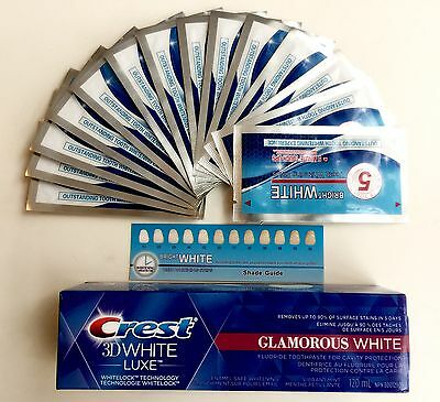CREST3D GLAMOROUS TOOTHPASTE & ONUGE 5min WHITESTRIPS , FREE GIFT * * *