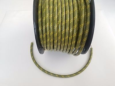 7mm COPPER CORE BRAIDED CLOTH Green with Yellow tracers SPARK PLUG WIRE by foot