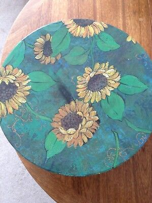 Sunflower print large hat box Travel + Storage
