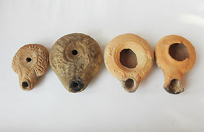 Lot of 4 Ancient Roman terra cotta Oil lamps. Herodian;discus;frog, byzantine