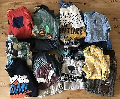 Huge Bundle Boys A/W Long Sleeve 10 X Tops Jumpers 7 X Trousers 12-18 Months