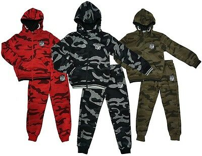 Boys Tracksuit Army Camo AFL Motif Zip Hooded Top Jog Suit Outfit 2 to 14 Years
