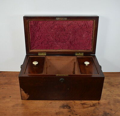 Large Antique Tea Caddy With Lion Head Side Handles. For Restoration