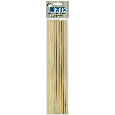 PME Bamboo Dowel Rods Pillar Wedding Cake Tier Tiered Rod Support - 12 Pack