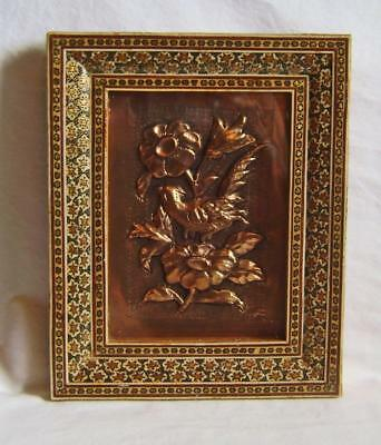 Vintage Persian Micromosaic Inlaid Picture Frame with repousse copper picture