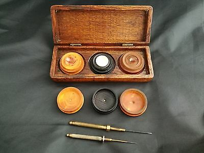 Watchmakers OILERS and OIL POTS/ CUPS stand in wooden box (Antique Vintage)