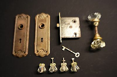 Antique Glass  Door Knobs - 2 Face Plates - Lock & key Plus 4 Glass Drawer Pulls