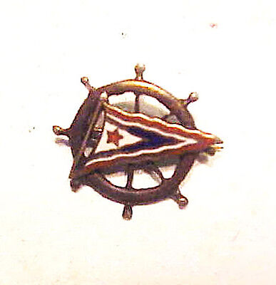 Small Sterling Pin Depicting  Star  Pendant and Ship's Wheel