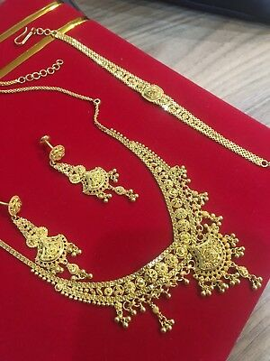 22ct Indian Gold Necklace Earring And Bracelet.