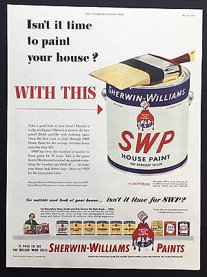 1952 Vintage Print Ad SHERWIN WILLIAMS SWP Paint Can Yellow