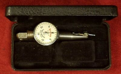 VINTAGE STARRETT No. 711-F - LAST WORD DIAL INDICATOR WITH CASE  MADE USA