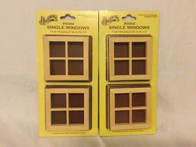 """Houseworks 5004 single windows set of 4 New in Box 1"""" scale"""